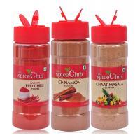 The Spice Club Cinnamon Powder 70g + Kashmiri Red Chilli Powder 70g + Chaat Masala Powder 100g