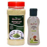 The Spice Club Moringa Leaf Chutney Powder 250g Jar + Virgin Coconut Oil (cooking, Edible Oil) 100ml