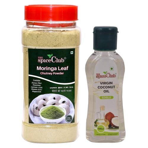 The Spice Club Moringa Leaf Chutney Powder 250g Jar + Virgin Coconut Oil (cooking, Edible Oil) 100ml