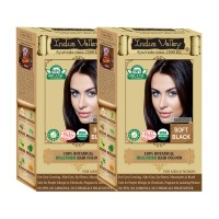 Indus Valley 100% Organic Botanical Soft Black- Set Of 2- One Touch Pack- Natural Hair Color