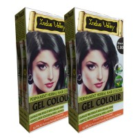 Indus Valley Organically Natural Gel Black 1.00- Twin Set- One Touch Pack- No Ammonia Hair Color