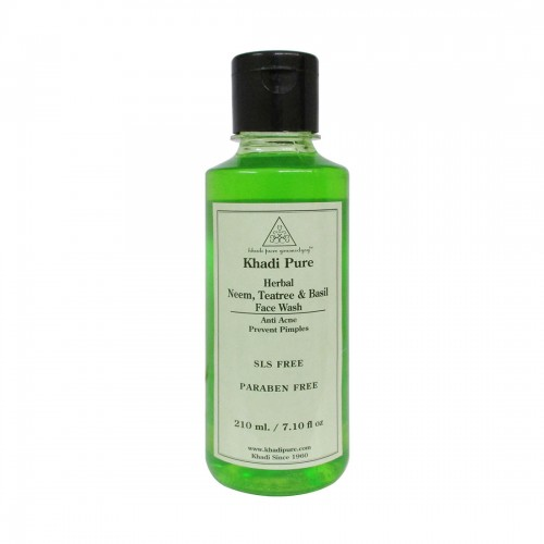 Khadi Pure Herbal Neem, Teatree And Basil Face Wash SLS-Paraben Free - 210ml