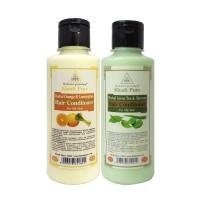 Khadi Pure Green Tea & Aloevera + Orange & Lemongrass Hair Conditioner Combo (420ml) Pack 2