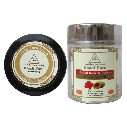 Khadi Pure Rose & Papaya And Gold Face Scrub Combo (100g) Pack 2
