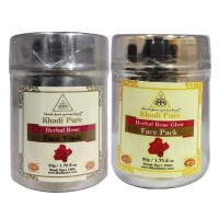 Khadi Pure Rose And Rose Glow Face Pack/Mask Combo (100g) Pack 2