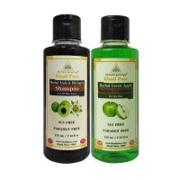 Khadi Pure Amla & Bhringraj And  Green Apple Shampoo SLS Free Combo (420ml) Pack 2