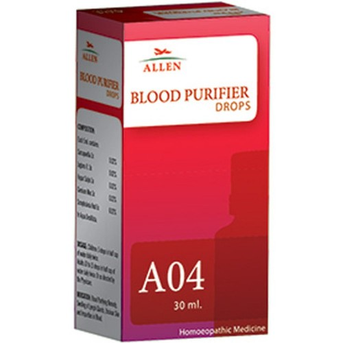 Allen A4 Blood Purifier Drops (30ml) : Purifies and Remove Toxins from Blood, Useful in Acne, Pimples, Boils, Skin Rash