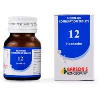 Bakson Biochemic Combination 12 (25g) : For Headache, Migraine, Students headache, Sleeplessness, Worry