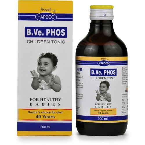Hapdco B.Ve. Phos Syrup (200ml) : Children Tonic for Dentition, Diarrhoea and Vomiting of Milk, Calcium Deficiency