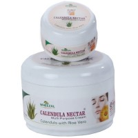 Wheezal Calendula Nectar Cream with Aloe Vera (200g) : Clears Skin and Maintains a Smooth, Wrinkle Free Complexion, Acne and Scars