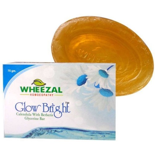 Wheezal Glow Bright Calendula & Berberis Soap (75g) : Keeps Skin Smooth, Glowing & Soft, Helps Clear Complexion, Moisturizes Skin
