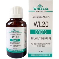 Wheezal WL-20 Inflammation Drops (30ml) : Lowers Mild to High Temperature, Cold, Throat Pain, Swelling of Glands
