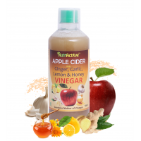 NutrActive™ Apple Cider Vinegar With Ginger, Garlic, Lemon & Honey - 500 ml | Raw, Unfiltered & Unpasteurized