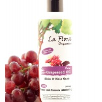 La Flora Organics Pure Grapeseed Oil - Skin & Hair Care -100 ml