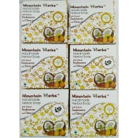 Mountain herbs natural handmade soaps- Citrus and Frankincense fragrance (pack of 6 soaps 90 grams each)