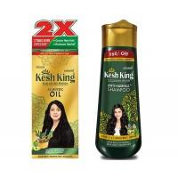 Kesh King Ayurvedic Scalp and Hair Oil, 300ml & Anti Hairfall Shampoo, 340ml Combo