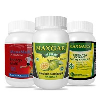 Maxgars Garcinia Cambogia Extract + Green Tea Extract + Mensmulti Multivitamin | Weight Loss Combo For Men