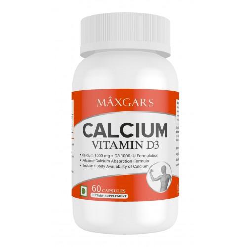 Maxgars Calcium With Vitamin D3 | Calcium 1000mg & Vitmain D3 1000iu | 60 Capsules |30 Servings