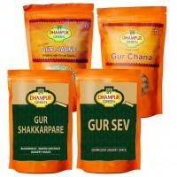 Dhampure Green Gur Chana , Shakkarpare ,sev , Saunf , ( Combo Pack 600gm )