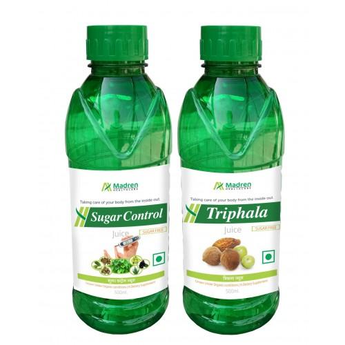 Madren Healthcare Sugar Care & Triphala Juice 500 Ml (combo Pack)