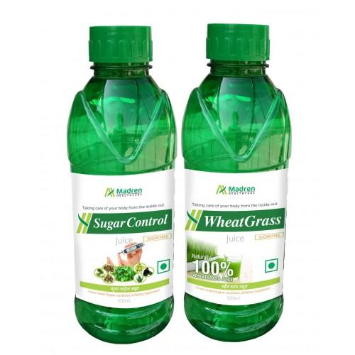 Madren Healthcare Sugar Care & Wheat Grass Juice 500 Ml (combo Pack)