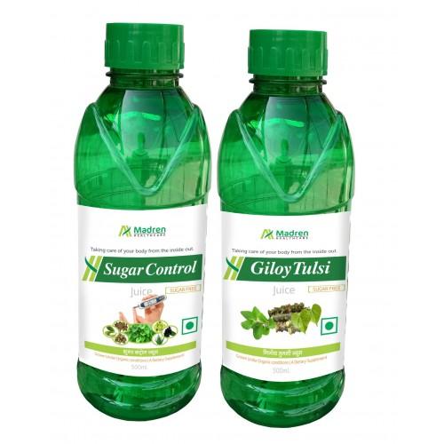 Madren Healthcare Sugar Care & Giloy Tulsi Juice 500 Ml (combo Pack)