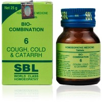 SBL Bio Combination 6 (25g) : Cough, Cold & Catarrh, Bronchitis, Rattling Cough, Difficulty in breathing