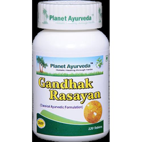 Planet Ayurveda's Gandhak Rasayan Tablets (120) - Blood Purifier, Skin Care