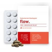 Purecure+co Flow 500mg Menopause And Peri-menopause Relief Supplement  25 Herbs Yastimadhu Shatavari Ashwagandha  100% Natural (60 Tablets)