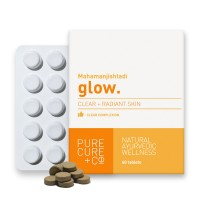 Purecure+co Glow: 500mg Natural Supplement For Clear Complexion And Glowing Skin. Stimulate Collagen, Repair Pimples And Acne (60 Tablets)