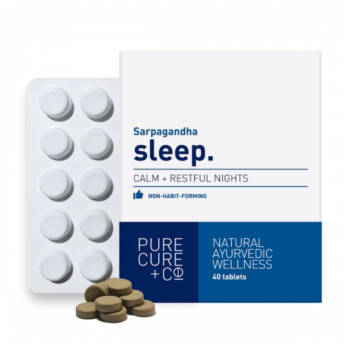 Pure Cure + Co. Sleep: 100% Natural And Vegetarian, Ayurvedic Sarpagandha Non-habit Forming Formula For Calm And Restful Nights,40 X 250 Mg Tablets