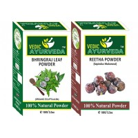 Vedic Ayurveda Bhringraj Leaf + Reetha Powder Combo