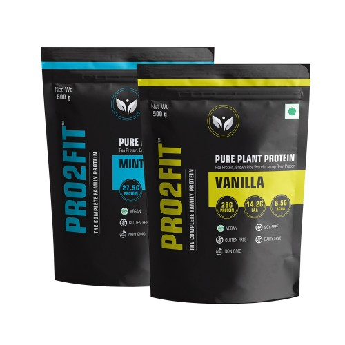 Pro2fit Vegan Plant Protein Powder With Pea Protein Brown Rice And Mungbean Protein – Vanilla 500g + Minty Chocolate 500g
